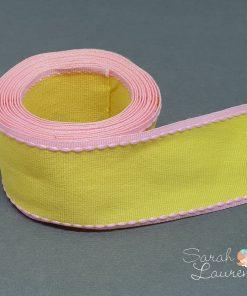 Stitch Grosgrain Ribbon Pink & Yellow 38mm