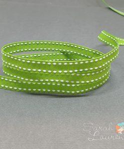White Saddle Stitch Ribbon on Kiwi Green 9mm
