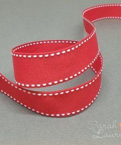 White Saddle Stitch Ribbon on Red 22mm
