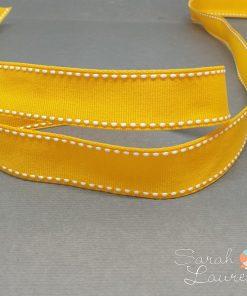 White Saddle Stitch Ribbon on Yellow Gold 22mm