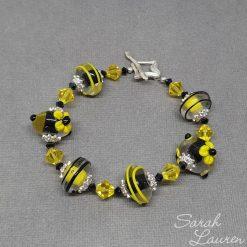 Yellow Black glass beaded bracelet